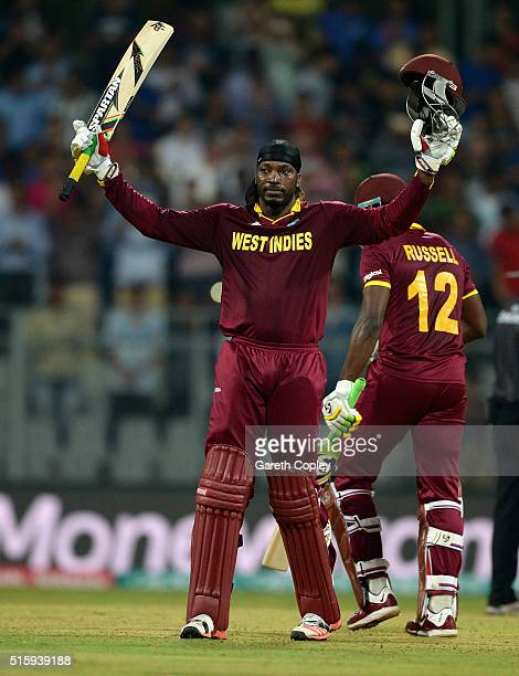 Chris Gayle of the West Indies celebrates reaching his century during the ICC World Twenty20 India 2016 Super 10s Group 1 match between West Indies...