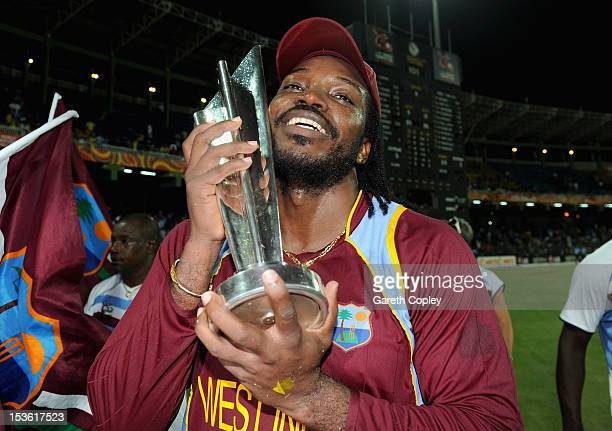Chris Gayle of the West Indies celebrates with the trophy after winning the ICC World Twenty20 2012 Final between Sri Lanka and the West Indies at R...