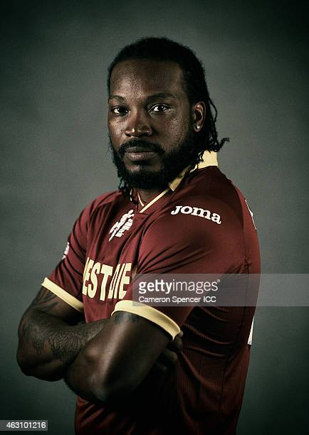 Chris Gayle of the West Indies poses during the West Indies 2015 ICC Cricket World Cup Headshots Session at the Intercontinental on February 8 2015...