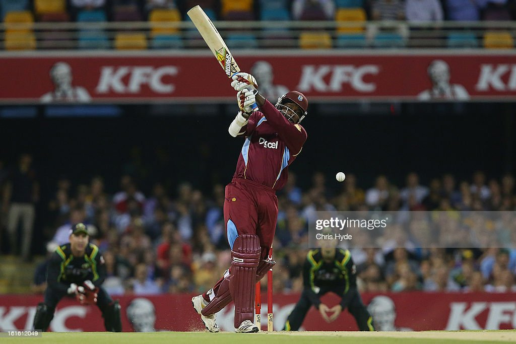 <a gi-track='captionPersonalityLinkClicked' href=/galleries/search?phrase=Chris+Gayle+-+Cricketspeler&family=editorial&specificpeople=206191 ng-click='$event.stopPropagation()'>Chris Gayle</a> of West Indies bats during the International Twenty20 match between Australia and the West Indies at The Gabba on February 13, 2013 in Brisbane, Australia.