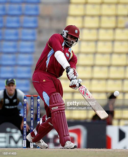 Chris Gayle of West Indies bats during the Super Eights Group 1 match between New Zealand and West Indies at Pallekele Cricket Stadium on October 1...