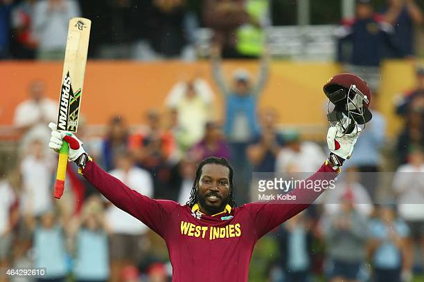 Chris Gayle of West Indies celebrates his double century during the 2015 ICC Cricket World Cup match between the West Indies and Zimbabwe at Manuka...