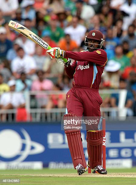 Chris Gayle of West Indies hits another six during the 2nd KFC T20 International match between South Africa and West Indies at Bidvest Wanderers...