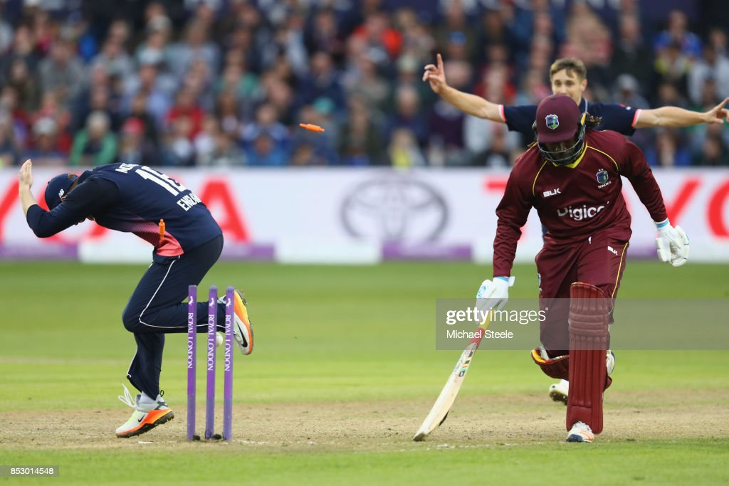 Chris Gayle of West Indies is run out from a direct Adil Rashidd throw during the third Royal London One Day International match between England and West Indies at The Brightside Ground on September 24, 2017 in Bristol, England.