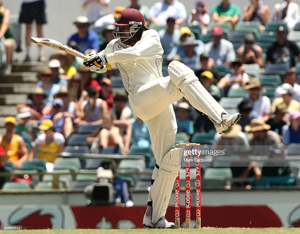 Chris Gayle of West Indies pulls during day four of the Third Test match between Australia and the West Indies at WACA on December 19 2009 in Perth...