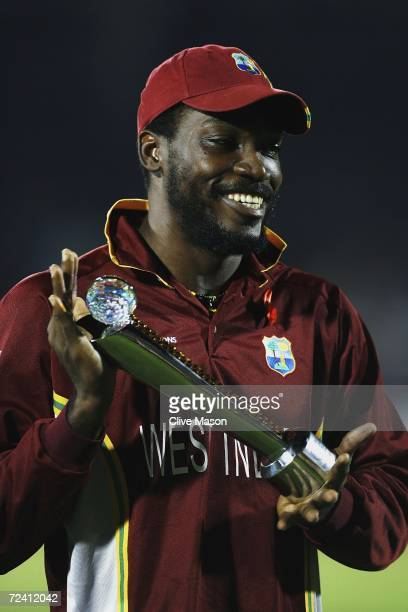 Chris Gayle of West Indies with his man of the series award after the ICC Champions Trophy Final match between Australia and West Indies at the...