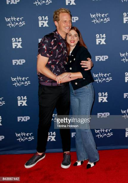 Chris Geere and Aya Cash attend the premiere of FX's 'Better Things' season 2 at Pacific Design Center on September 6 2017 in West Hollywood...