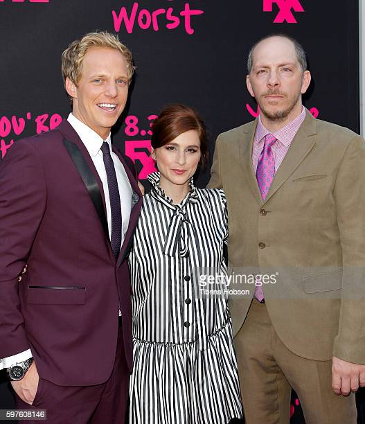 Chris Geere Aya Cash and Stephen Falk attends the premiere of FXX's 'You're The Worst' season 3 on August 28 2016 in Los Angeles California