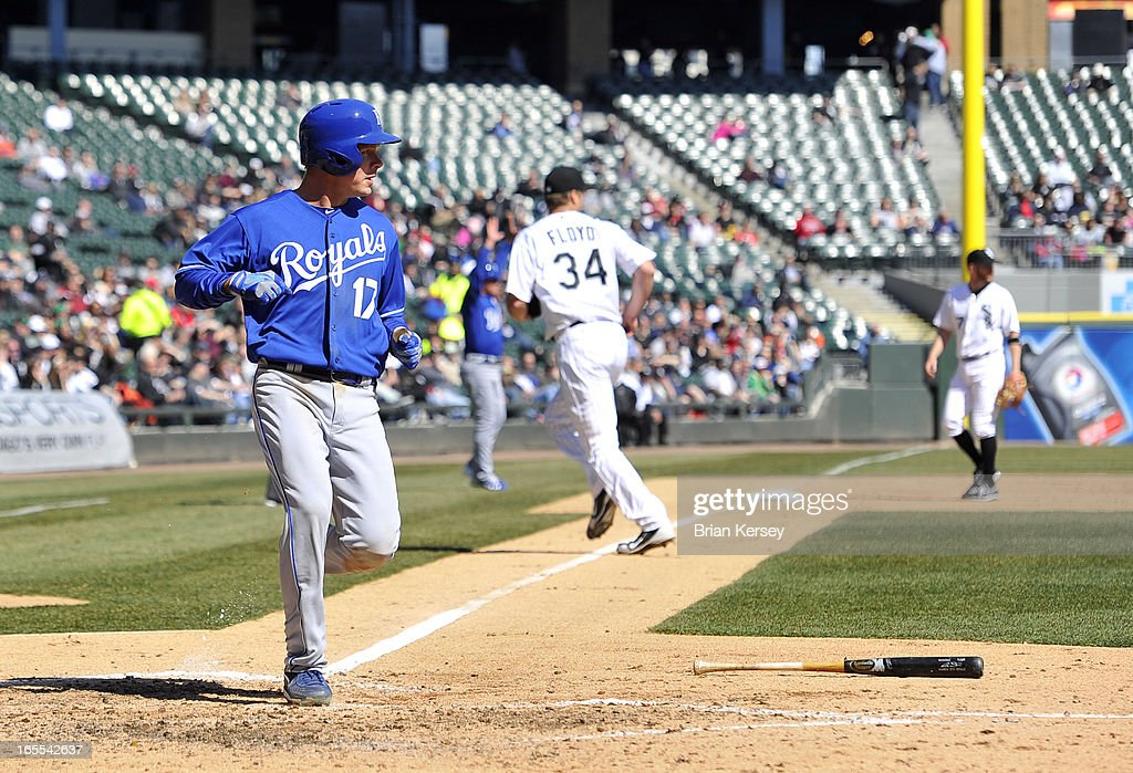 Chris Getz #17 of the Kansas City Royals scores on an RBI double hit by <a gi-track='captionPersonalityLinkClicked' href=/galleries/search?phrase=Alex+Gordon+-+Honkballer&family=editorial&specificpeople=4494252 ng-click='$event.stopPropagation()'>Alex Gordon</a> #4 during the fifth inning against the Chicago White Sox on April 4, 2012 at U.S. Cellular Field in Chicago, Illinois. The Royals defeated the White Sox 3-1.