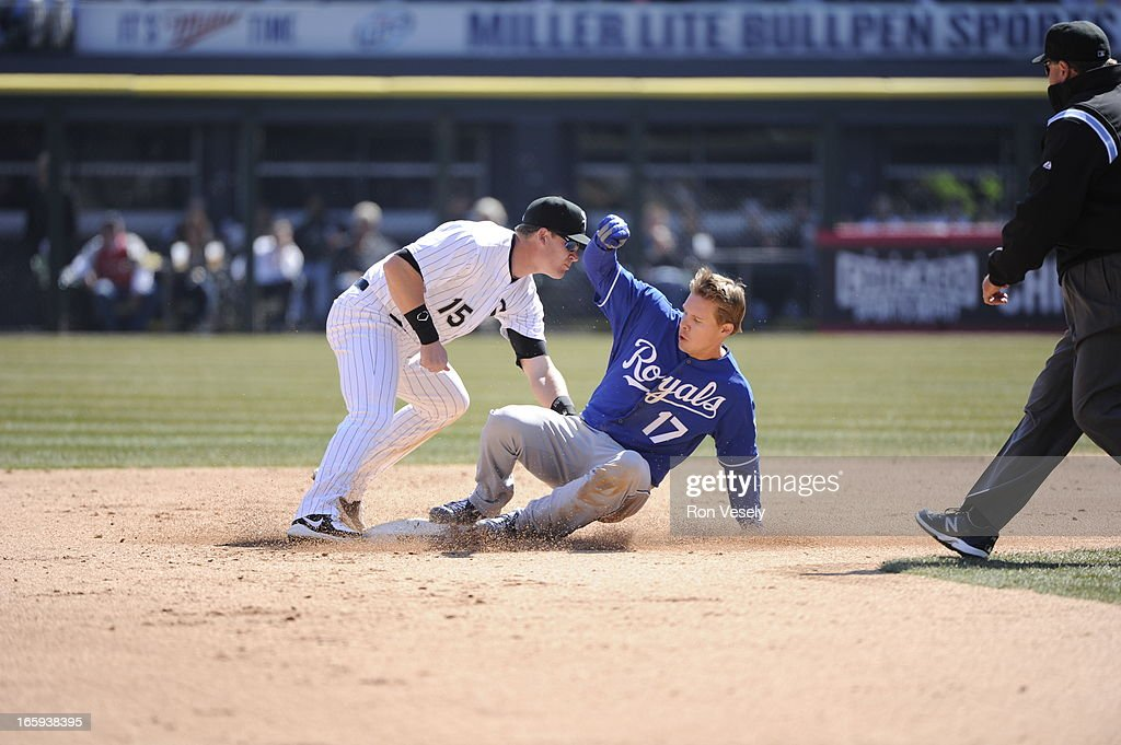 Chris Getz #17 of the Kansas City Royals slides into second base safely, avoiding the tag by Gordon Beckham #15 of the Chicago White Sox on April 4, 2013 at U.S. Cellular Field in Chicago, Illinois. The Royals defeated the White Sox 3-1.