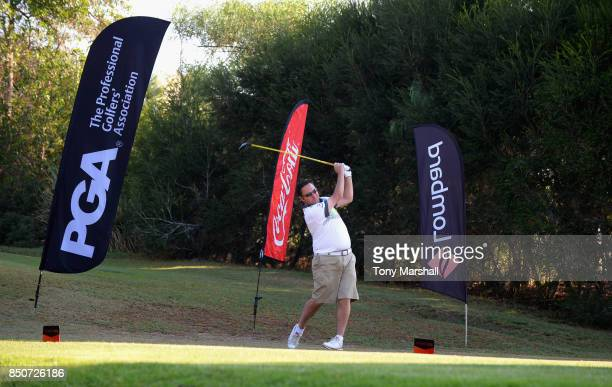 Chris Gill of Newquay Golf Club plays his first shot on the 1st tee during The Lombard Trophy Final Day One on September 21 2017 in Albufeira Portugal