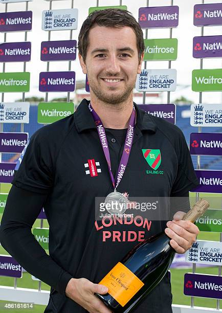 Chris Glasper of Ealing with the Man Of The Match award after the NatWest Club T20 Finals day match between Chester Broughton Hall Cricket Club and...