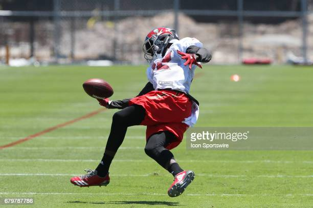 Chris Godwin attempts to make the catch as he loses his balance during the Buccaneers Rookie Camp on May 06 2017 at One Buccaneer Place in Tampa...