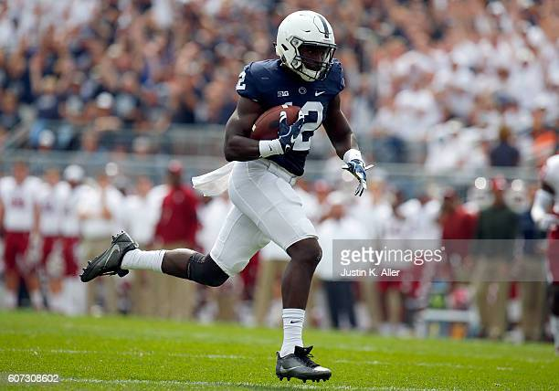 Chris Godwin of the Penn State Nittany Lions catches a 52 yard touchdown pass in the first half during the game against the Temple Owls on September...