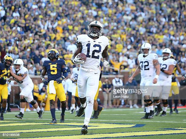 Chris Godwin of the Penn State Nittany Lions scores during the fourth quarter of the game against the Michigan Wolverines at Michigan Stadium on...