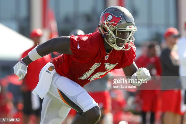 Chris Godwin takes off from the line of scrimmage during the Tampa Bay Buccaneers Training Camp on July 28 2017 at One Buccaneer Place in Tampa...