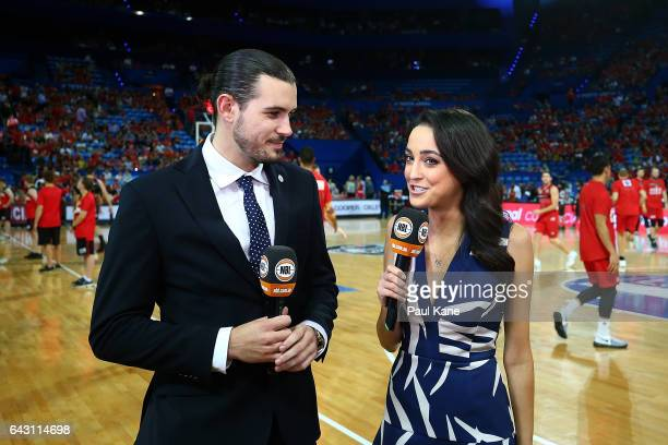 Chris Goulding and Abbey Gelmi do a pregame piece to camera during the game two NBL Semi Final match between the Perth Wildcats and Cairns Taipans at...