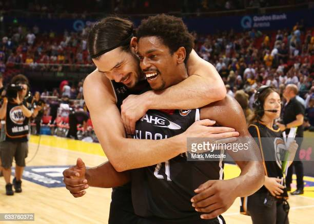 Chris Goulding and Casper Ware of United celebrate victory in the round 18 NBL match between the Sydney Kings and Melbourne United at Qudos Bank...