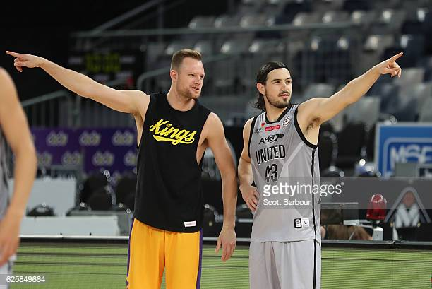 Chris Goulding of Melbourne United and Brad Newley of the Sydney Kings talk before the round eight NBL match between Melbourne United and the Sydney...
