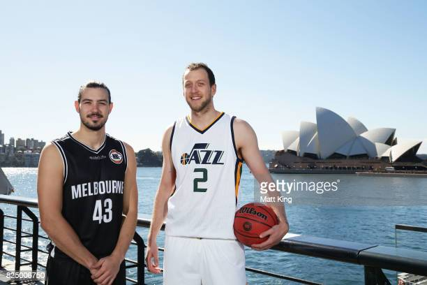 Chris Goulding of Melbourne United and Joe Ingles of the Utah Jazz pose during an NBL Media Opportunity at Cruise Bar on August 1 2017 in Sydney...