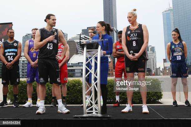 Chris Goulding of Melbourne United and Suzy Batkovic Townsville Fire on stage during the 2017/18 NBL and WNBL Season Launch at Crown Towers on...