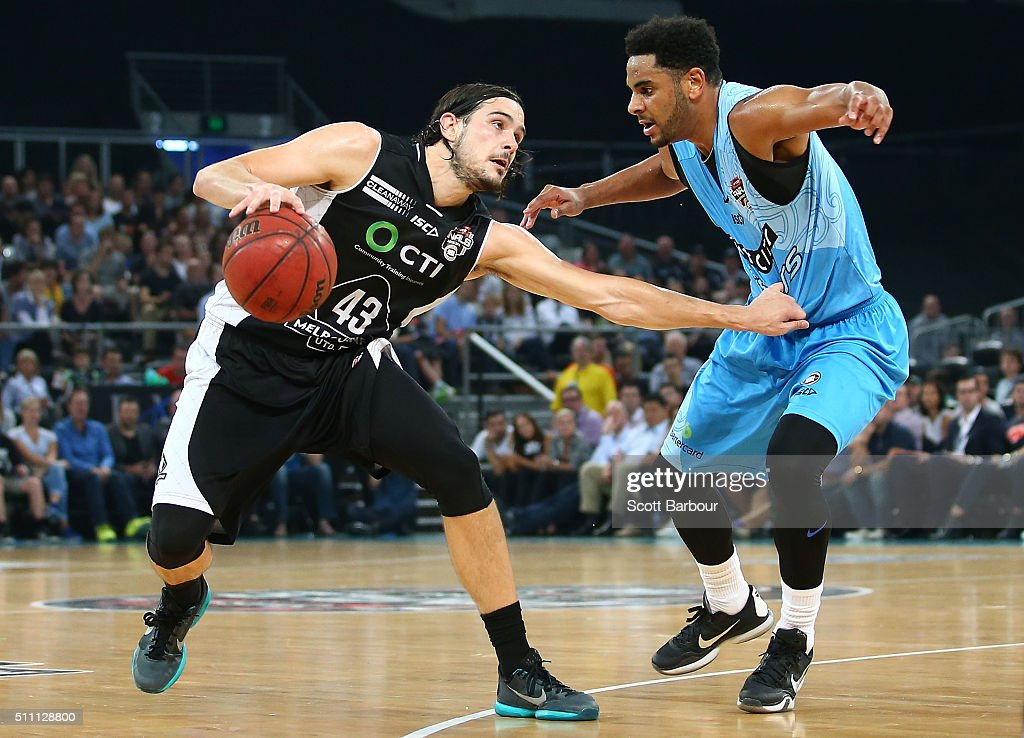 Chris Goulding of Melbourne United controls the ball as Corey Webster of the New Zealand Breakers defends during the NBL Semi Final match between...