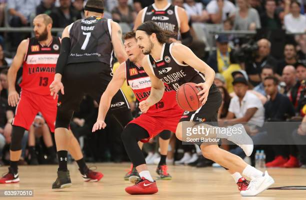 Chris Goulding of Melbourne United controls the ball during the round 18 NBL match between Melbourne United and the Illawarra Hawks at Hisense Arena...