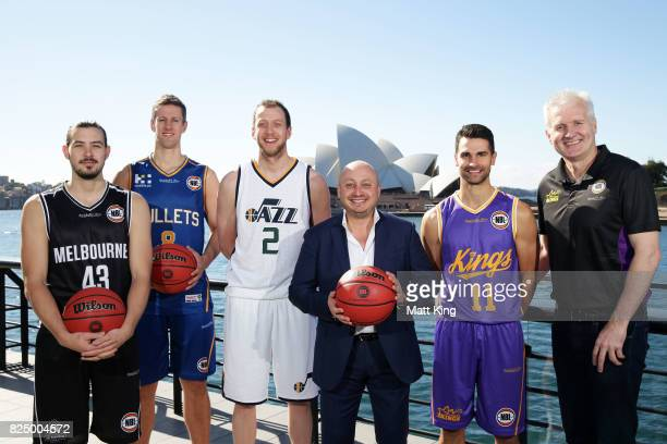 Chris Goulding of Melbourne United Daniel Kickert of the Bisbane Bullets Joe Ingles of the Utah Jazz NBA owner Larry Kestelman Kevin Lisch of the...