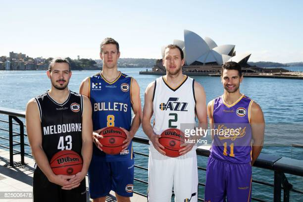 Chris Goulding of Melbourne United Daniel Kickert of the Bisbane Bullets Joe Ingles of the Utah Jazz and Kevin Lisch of the Sydney Kings pose during...