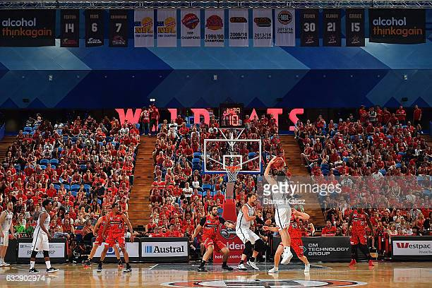 Chris Goulding of Melbourne United shoots during the round 17 NBL match between the Perth Wildcats and Melbourne United at Perth Arena on January 28...