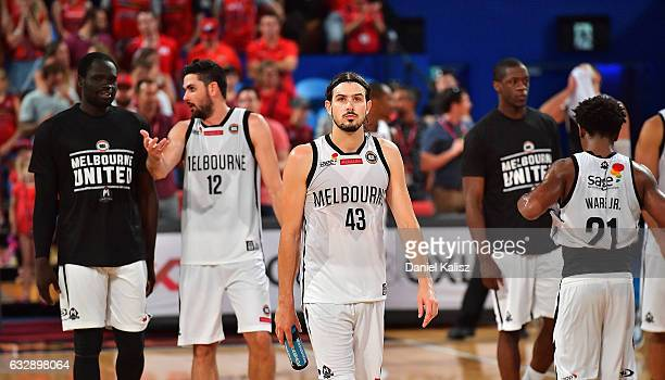 Chris Goulding of Melbourne United walks from the court dejected after the final siren during the round 17 NBL match between the Perth Wildcats and...