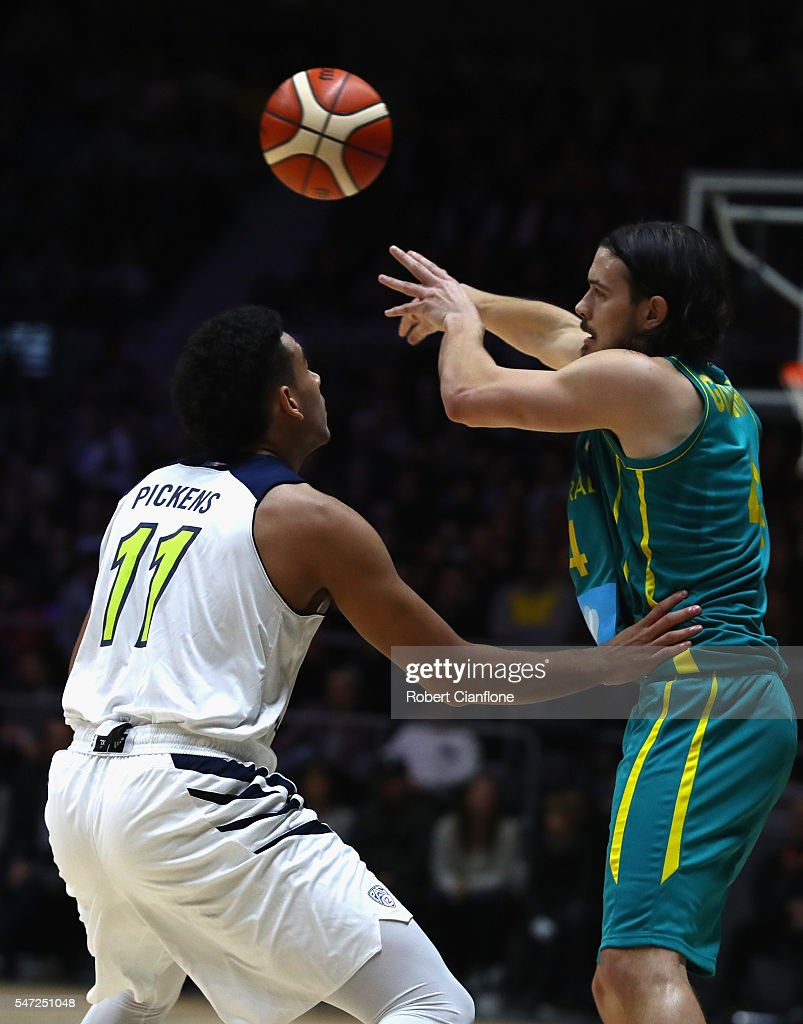 Chris Goulding of the Boomers passes the ball during the match between the Australian Boomers and the Pac-12 College All-stars at Hisense Arena on July 14, 2016 in Melbourne, Australia.
