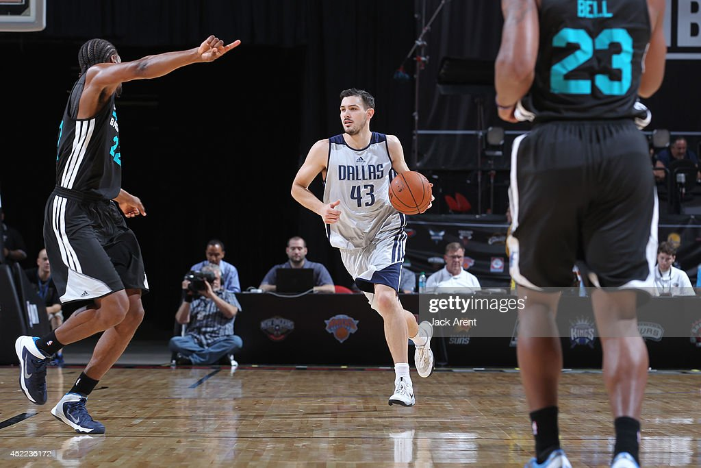Chris Goulding #43 of the Dallas Mavericks moves the ball up-court against the Charlotte Hornets at the Samsung NBA Summer League 2014 on July 16, 2014 at the Thomas & Mack Center in Las Vegas, Nevada.