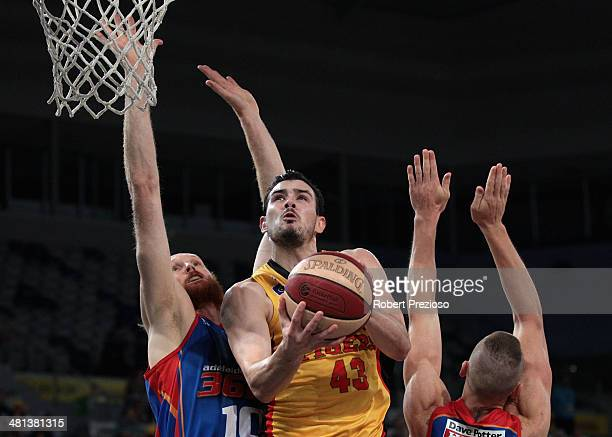 Chris Goulding of the Tigers drives to the basket during game two of the NBL Semi Final series between the Melbourne Tigers and the Adelaide 36ers at...