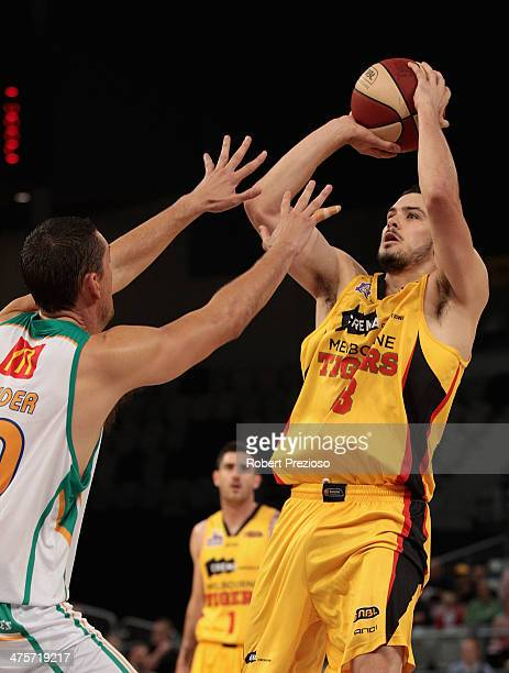 Chris Goulding of the Tigers drives to the basket during the round 20 NBL match between the Melbourne Tigers and the Townsville Crocodiles at Hisense...