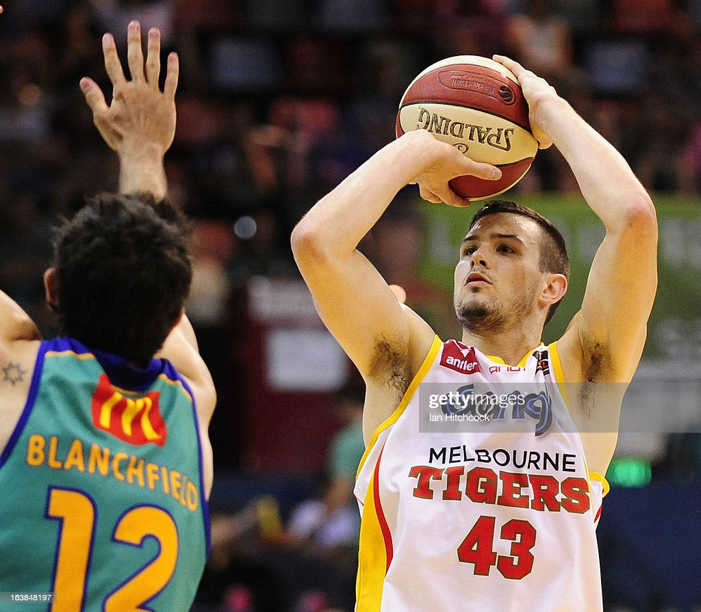 Chris Goulding of the Tigers looks make a jump shot past Todd Blanchfield of the Crocodiles during the round 23 NBL match between the Townsville Crocodiles and the Melbourne Tigers at Townsville Entertainment Centre on March 17, 2013 in Townsville, Australia.