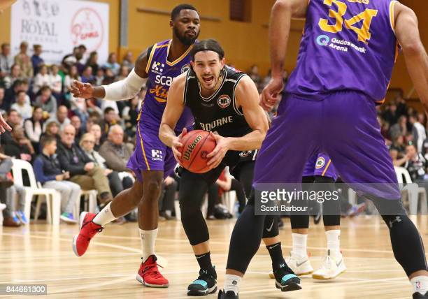 Chris Goulding of United controls the ball during the 2017 NBL Blitz preseason match between Melbourne United and the Sydney Kings at Traralgon...
