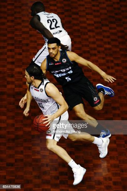 Chris Goulding of United drives against Shea Ili of the Breakers during the round 19 NBL match between the New Zealand Breakers and Melbourne United...