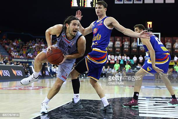Chris Goulding of United drives to the basket during the round 16 NBL match between the Brisbane Bullets and Melbourne united at the Brisbane...
