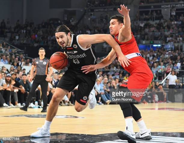 Chris Goulding of United drives to the basket during the round 19 NBL match between Melbourne United and the Perth Wildcats at Hisense Arena on...