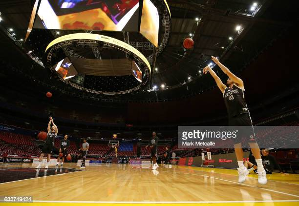 Chris Goulding of United in action during warm up before the round 18 NBL match between the Sydney Kings and Melbourne United at Qudos Bank Arena on...