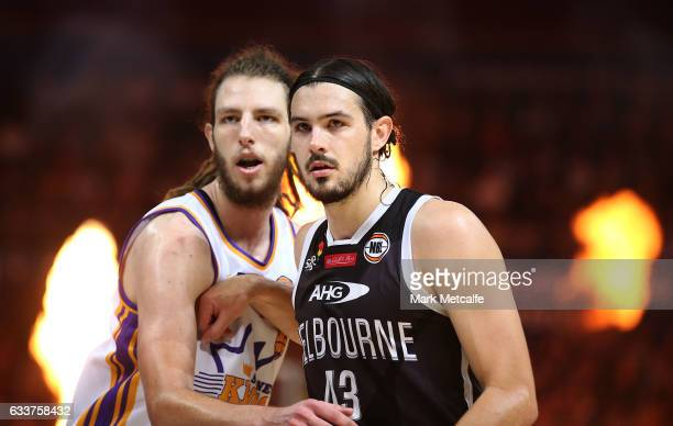 Chris Goulding of United is marked by Craig Moller of the Kings during the round 18 NBL match between the Sydney Kings and Melbourne United at Qudos...