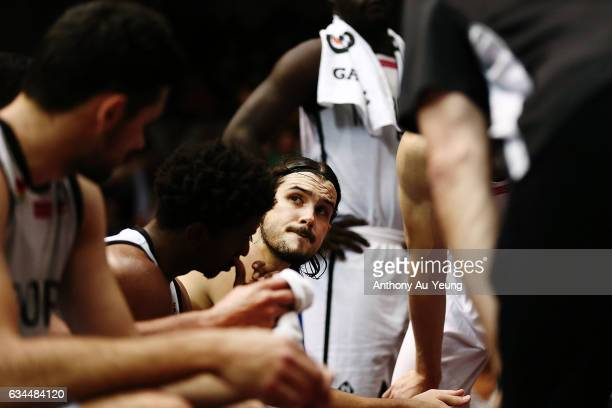 Chris Goulding of United looks on during a timeout during the round 19 NBL match between the New Zealand Breakers and Melbourne United at North Shore...