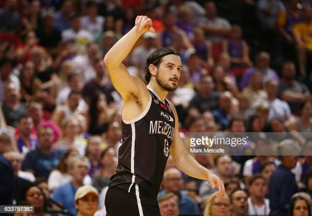 Chris Goulding of United makes a three pointer during the round 18 NBL match between the Sydney Kings and Melbourne United at Qudos Bank Arena on...