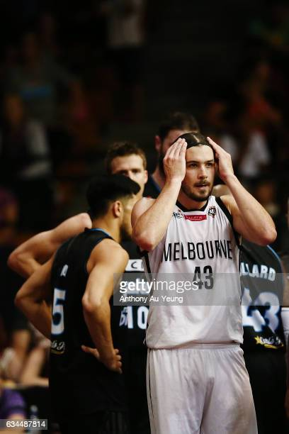 Chris Goulding of United reacts during the round 19 NBL match between the New Zealand Breakers and Melbourne United at North Shore Events Centre on...