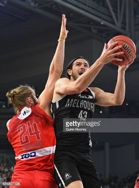 Chris Goulding of United shoots during the round 19 NBL match between Melbourne United and the Perth Wildcats at Hisense Arena on February 12 2017 in...