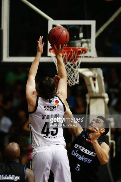 Chris Goulding of United shoots over Shea Ili of the Breakers during the round 19 NBL match between the New Zealand Breakers and Melbourne United at...