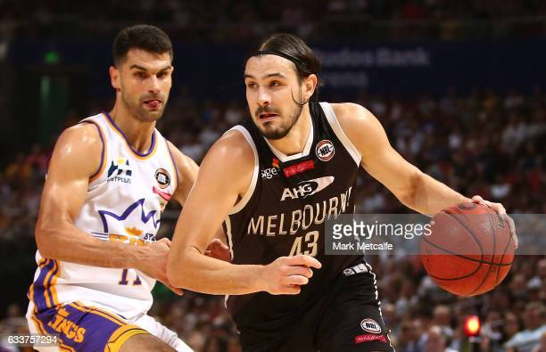 Chris Goulding of United takes on Kevin Lisch of the Kings during the round 18 NBL match between the Sydney Kings and Melbourne United at Qudos Bank...