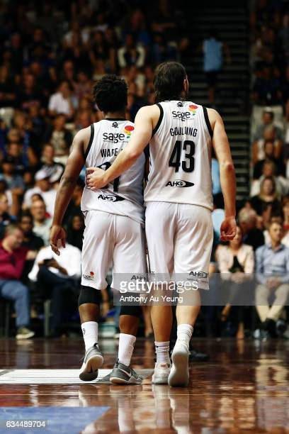 Chris Goulding of United tries to cheer on teammate Casper Ware of United during the round 19 NBL match between the New Zealand Breakers and...
