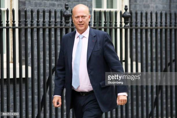 Chris Grayling UK transport secretary arrives for a special cabinet meeting at number 10 Downing Street in London UK on Thursday Sept 21 2017 UK...